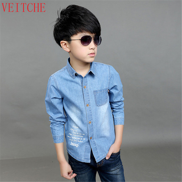 4dc3d0c8113 Boys jeans Shirt children's clothing Spring/Summer kids 100% denim cotton  long and short sleeved shirts for 3-12Y 100-150CM