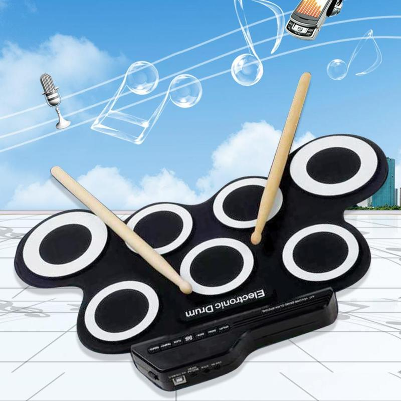Portable Electronics Roll Up Drum Pad Set 7 Silicon Pads Built-in Speakers with Drumsticks Foot Pedals For KidsPortable Electronics Roll Up Drum Pad Set 7 Silicon Pads Built-in Speakers with Drumsticks Foot Pedals For Kids