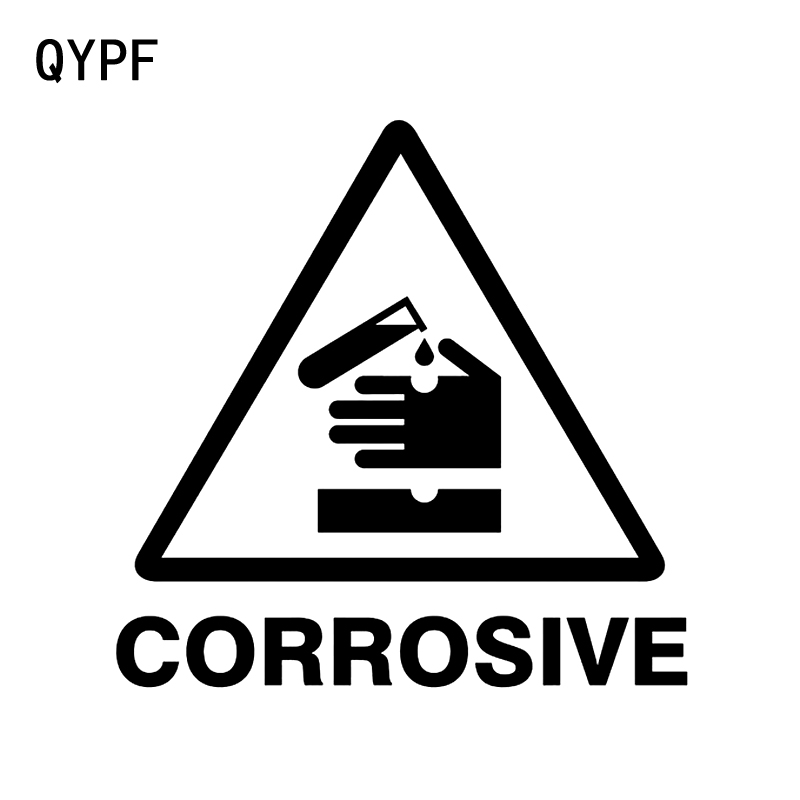 QYPF 13.4CM13.3CM Warning CORROSIVE Hazard Graphic Car Sticker Black/Silver Vinyl Decoration S9-2362