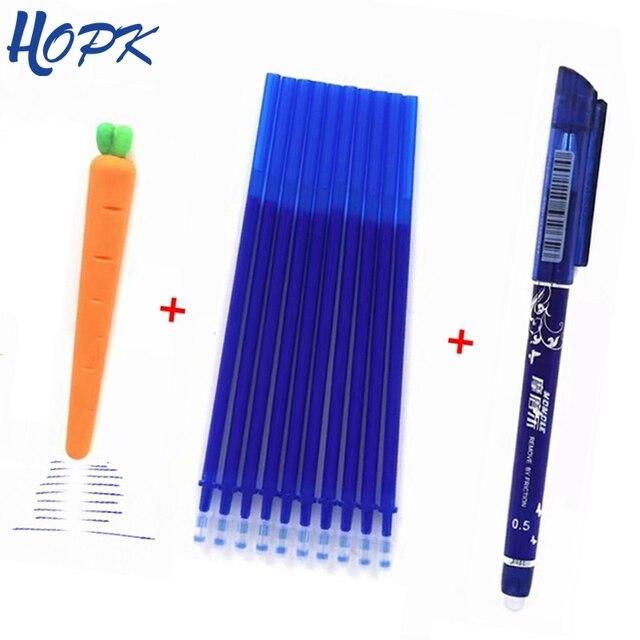 12 unids/lote pluma borrable recarga varilla 0,5mm azul/negro/rojo tinta pluma de Gel de recambios de la escuela suministros de oficina de papelería