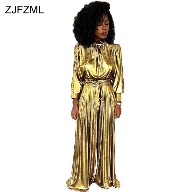 7f707f184e95 Gold Bronzing Sexy One Piece Overalls Women Turtleneck Long Sleeve Wide Leg  Pant Jumpsuit Vintage Sashes
