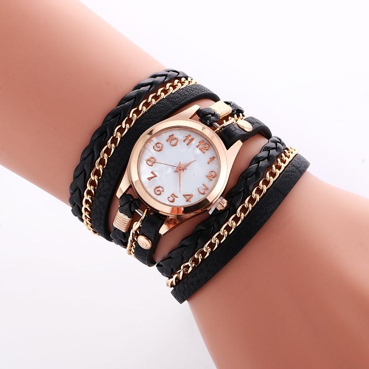 Wholesale hot Fashion Colorful Vintage women watches Weave Wrap Rivet ladies Leather Bracelet wristwatches chain dress