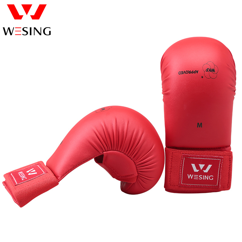 где купить Wesing karate gloves karate mitts for competition blue and red approved by WKF по лучшей цене