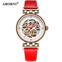 ABORNI Women Mechanical Watches Diamond Ladies Skeleton Watch Women Wristwatches 2018 automatic Fashion Clock Relogio Feminino