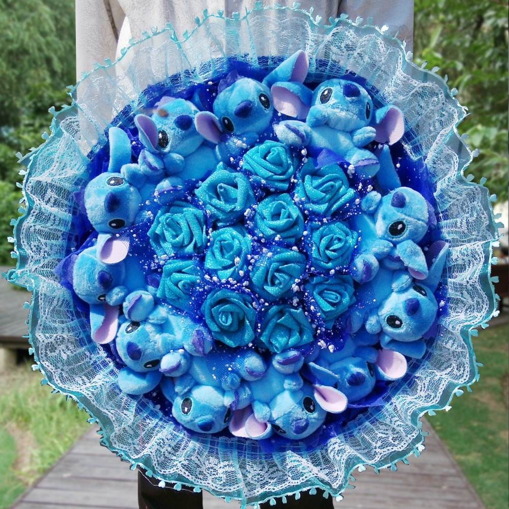 New Stitch Bouquet Plush Stuffed Carton Animals Toys Artificial Kawaii Cartoon Fake Flowers Best Birthday Christmas Day Gifts