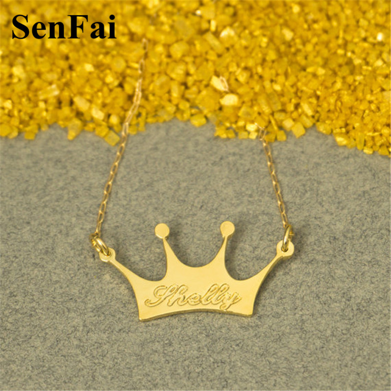 Senfai Customize Name Necklace Gold Crown Letters Engrave Statement Choker Pendants Necklaces For Women Men Special Jewelry Gift