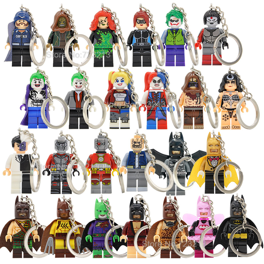 Single Sale DC Super Hero Batman Figure Keychain Joker Suicide Squad Scarecrow Poison Ivy Key Ring Building Block Models Toys подвеска shang yu 20140127 001