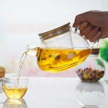 Top qualität glas bambus deckel 600 ml teekannen, bambus abdeckung wasserkocher