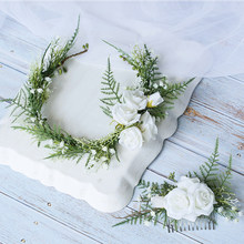 Greenery White Flower Crown Bridal Hair Comb and Headband Wedding Hair Accessories Bride Head Piece tocados flores bodas(China)