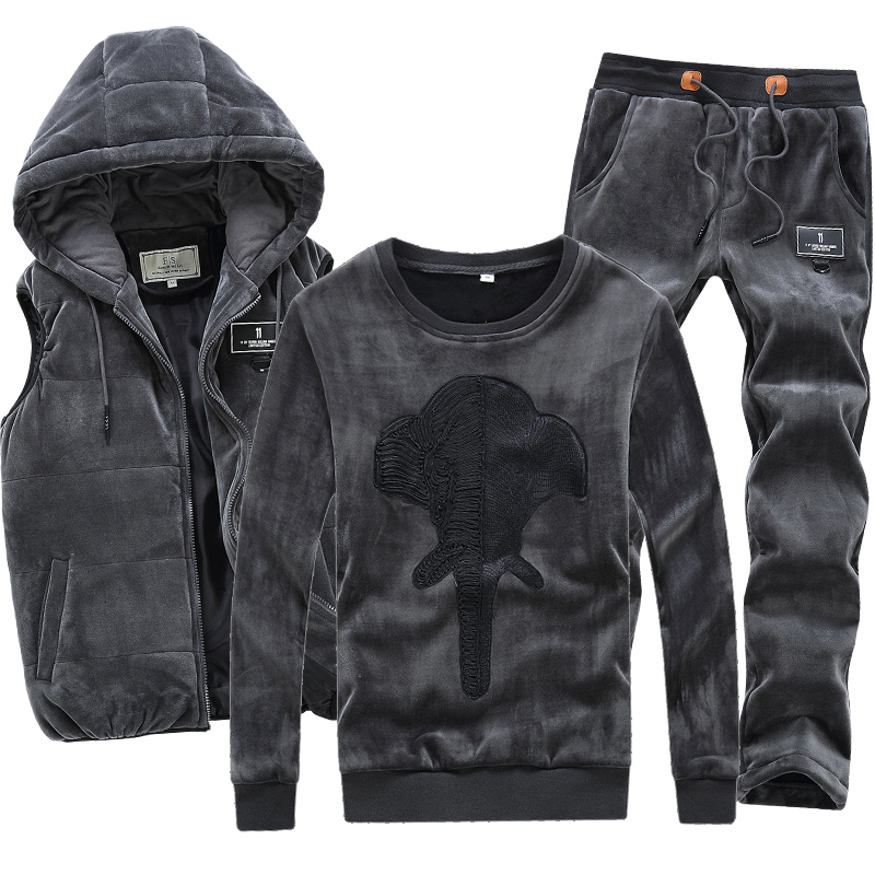 3 Pieces Velour Velvet Men Set Hoodie Pants Vest Hooded Warm Brand Hoodie Sweatshirt Winter Coat Fleece Hip Hop Men Sports Suit плата материнская asus prime b350m k am4 b350 sata m 2 mb