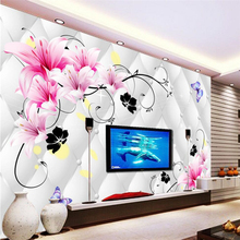 beibehang Lily 3D soft Mural Wall papers Home Decor Photo TV Background Colorful Flower Bathroom Large wallpaper for walls 3 d
