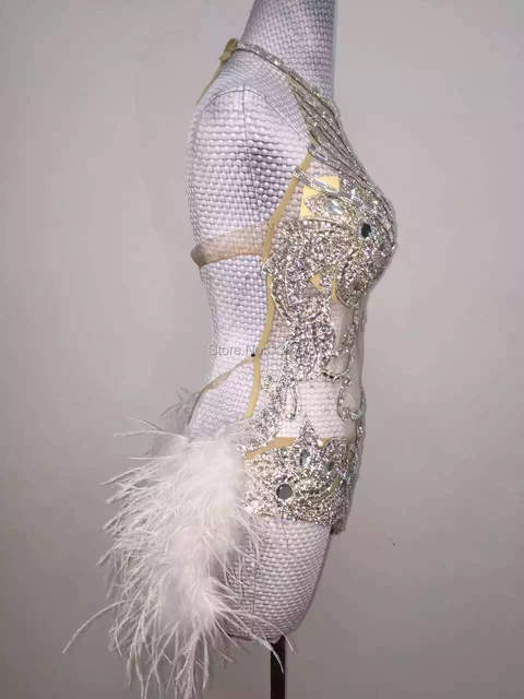 Glisten Silver Sequins Bodysuit Rhinestones Feather Leotard Costume  Birthday Celebrate Outfit Women Stage Performance Wear 5ef20f146e23