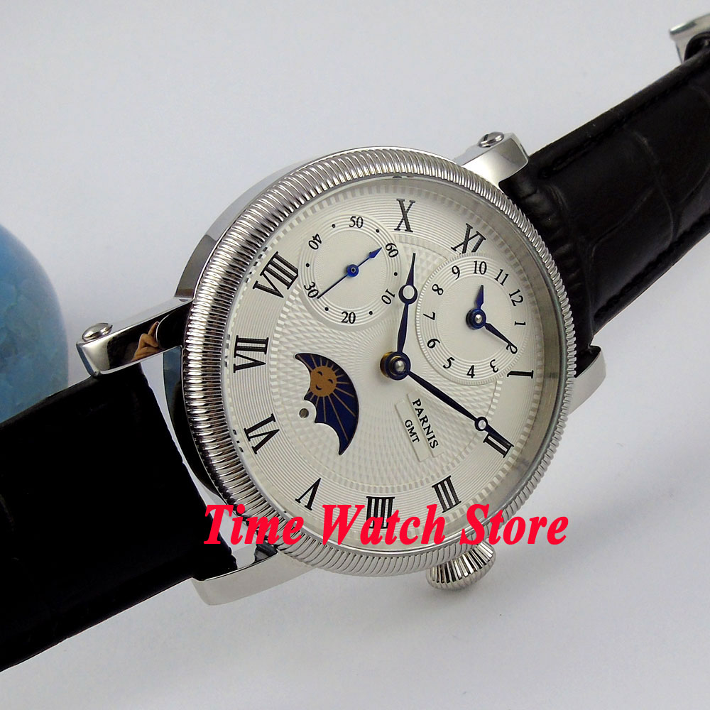 Parnis watch 42mm white dial blue hands Moon Phase GMT Mechanical hand winding movement Men's watch P60A 42mm parnis pink dial gmt moon phase hand winding movement mens watch pa061
