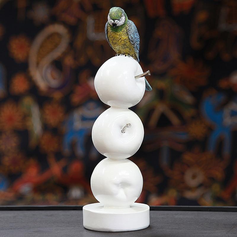 Chaud! Perroquet moderne Style européen jardin oiseau ornement Pop Art résine artisanat pomme Figurine Statue meilleur cadeau, livraison gratuite - 3
