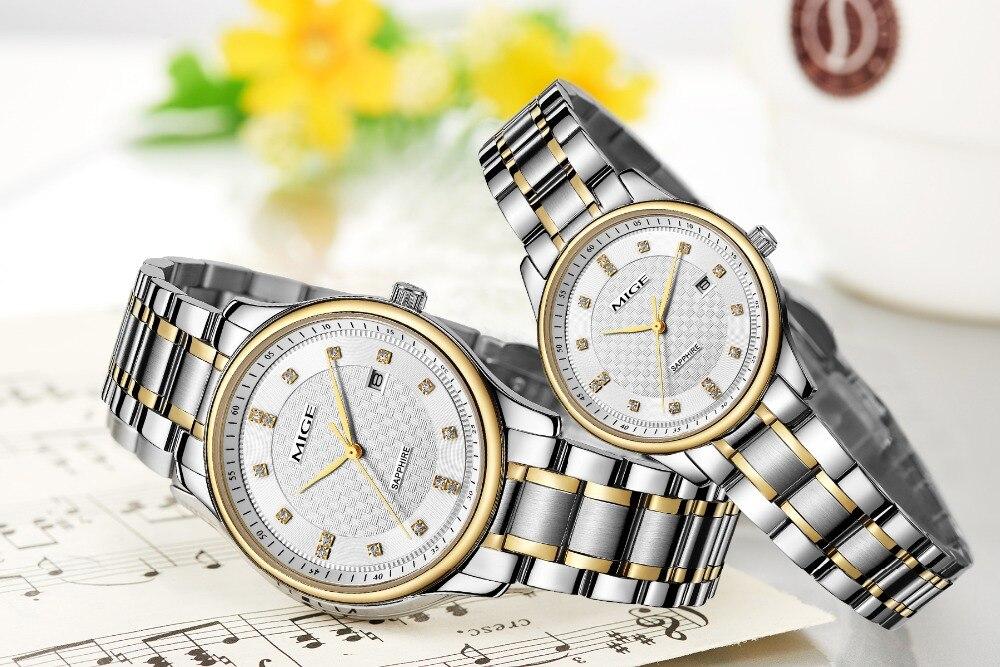 Mige 2017 настоящая Новинка распродажа мужские часы Белый Черный Коричневый кожаный бизнес водонепроницаемый корпус из розового золота ультра... - 5