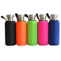 All Stainless Steel Water Bottle Leak-proof Sports Flask Tumbler with Neoprene Sleeve for Yoga Travel Outdoor BPA Free 1000 mL