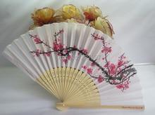 200 unids Envío Libre Fans Elegante Flor Del Ciruelo Wintersweet Estampado de Flores de La Boda Del Ventilador de Mano Plegable Verano Mujeres Chica Bailando Fan