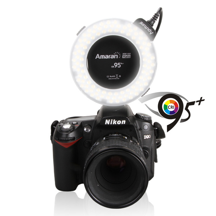 AHL-HN100 Halo LED Ring Flash CRI 95+Led Ring Flash Light Work with flash triggers Eight lens adapter ring for Nikon