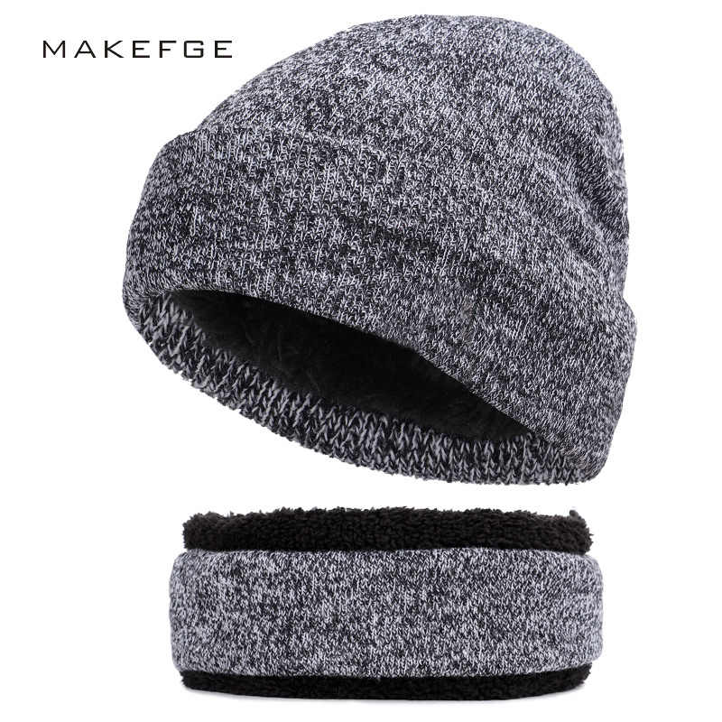 81c35a37476 Autumn and winter brand knitted men s cotton hats bib unisex warm and comfortable  ski caps mask