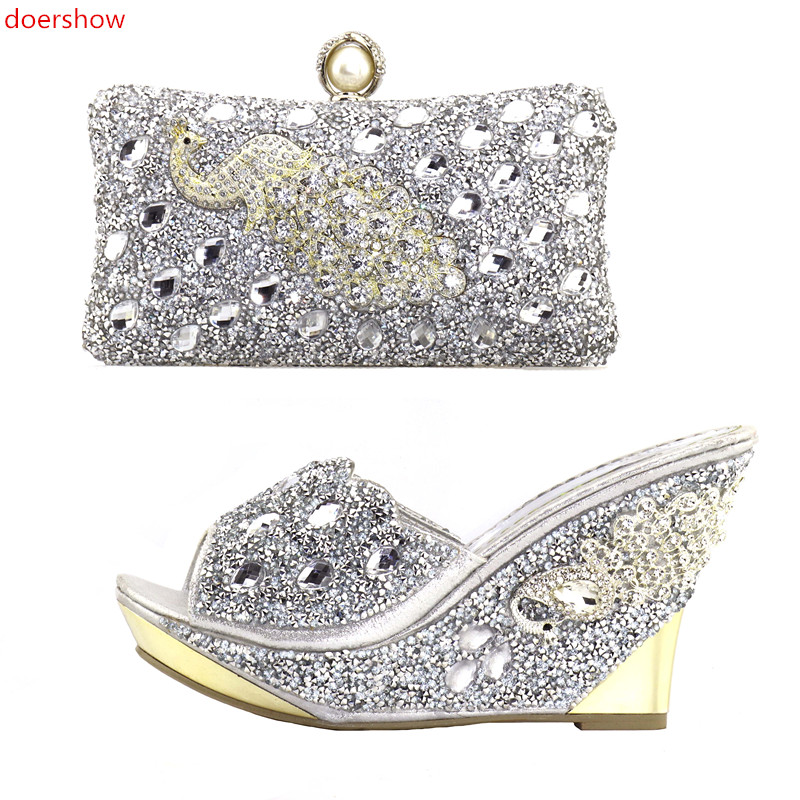 doershow silver Matching Shoes and Bags Italian In Women Bag and Shoes Set Italy Shoes and Bag Set African Sets2018 NJ1-23 doershow african shoes and bags fashion italian matching shoes and bag set nigerian high heels for wedding dress puw1 19