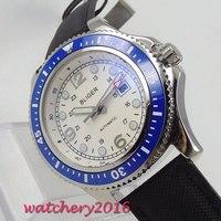 44mm Bliger Branco Dial Leather strap Luminous Mãos Girando Moldura Calendário Caixa De Aço De Luxo Relógio dos homens Movimento Automático