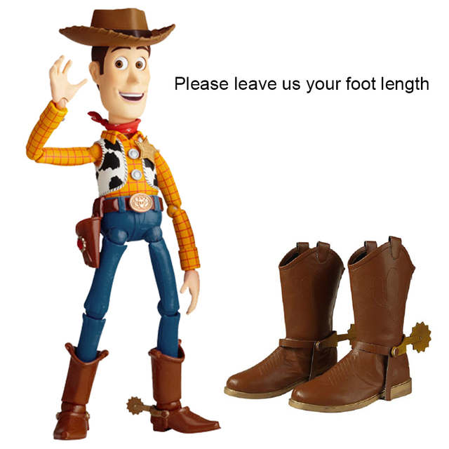 Toy Story Festa Cosplay Traje Lenhosa Cowboy Botas Homens Superhero Metal Plana Único Sapatos Feitos Sob Encomenda Adultos Dedo Do Pé Redondo Acessório