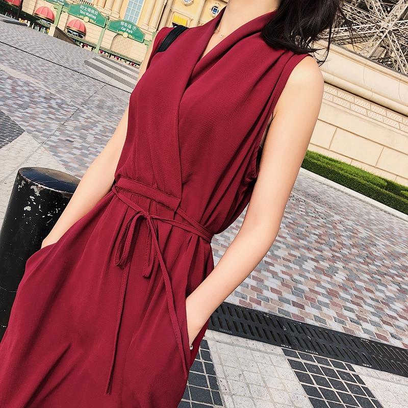 Snordic 2018 Ladies New Summer Maxi Long Dresses V-neck Binding Band Dress Sleeveless Solid Korean Style Casual Dress