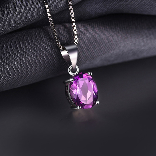 JewelryPalace 1.7ct Naturale Ametista Pendenti con gemme e perle Ovale Taglio Genuino Solido Dell'argento Sterlina 925 di Modo Dei Monili Viola Commercio All'ingrosso di New