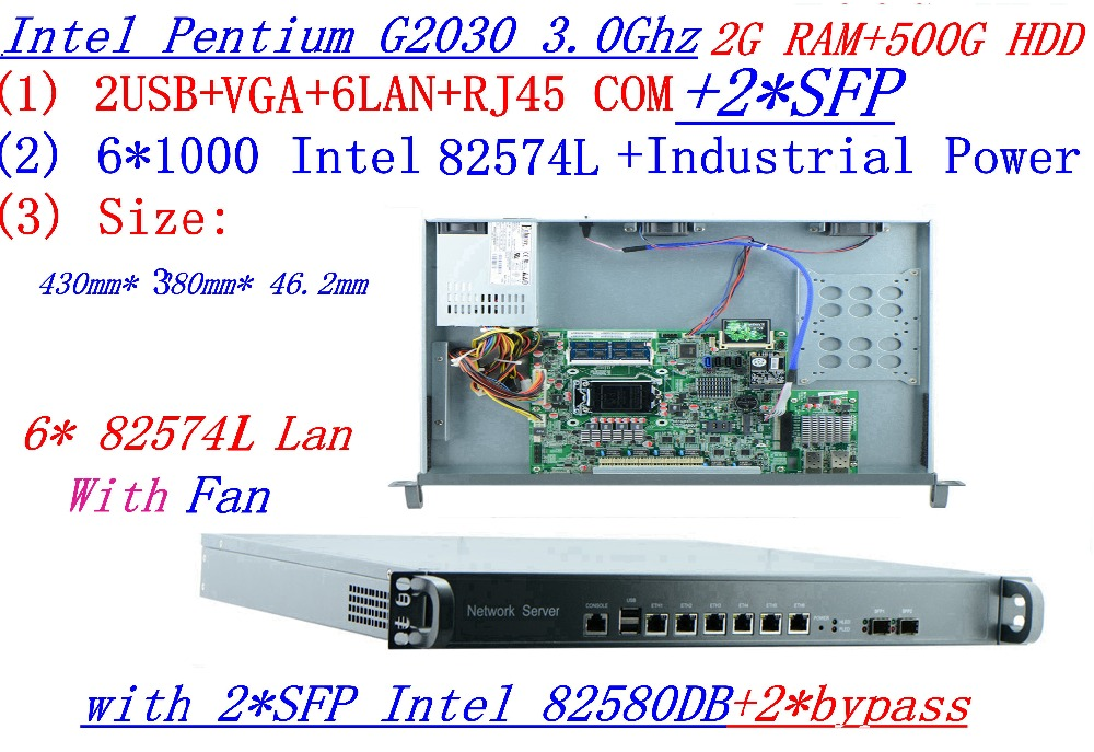 2G RAM 500GHDD Support ROS RouterOS 1U Firewall Server Router With 6*1000M InteL 82574L LAN 2*SFP 2*bypass Intel G2030 3.0Ghz