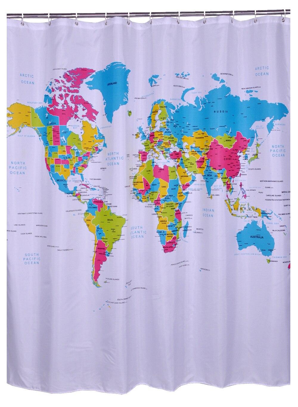 Bathroom Produts Printed World Map Shower Curtains Liner
