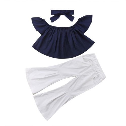 2-7Y Kids Baby Summer Off Shoulder Tops Wide Leg Pants Bell Bottoms Headband Outfits Girls Clothes Set 3pcs