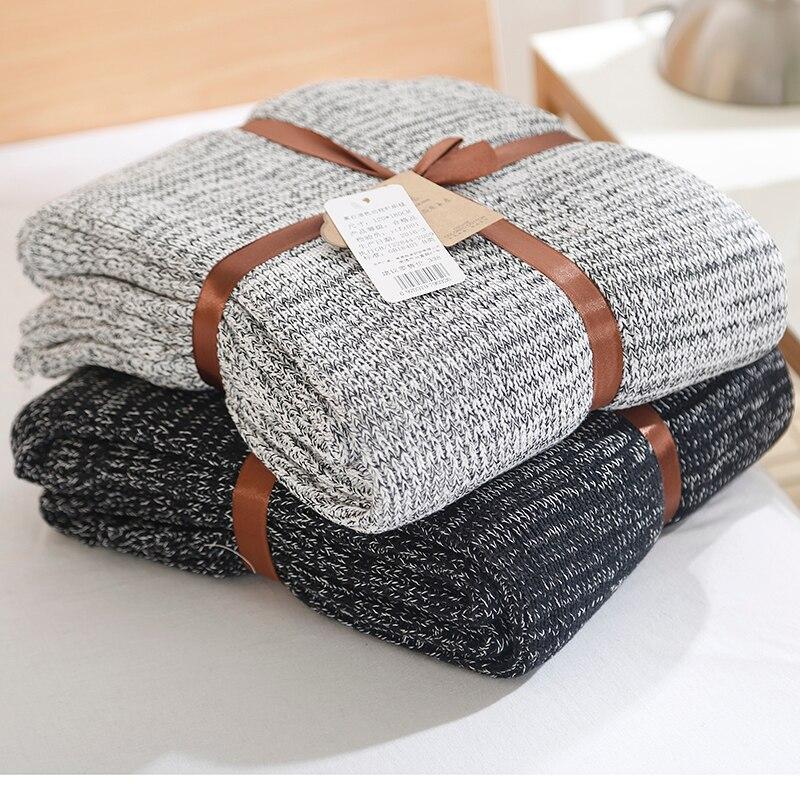 100% Coton de Haute Qualité Couverture À La Main Doux Tricoté Solide Couleur Plaid Jeter Couverture Sur Canapé Avion Housse Chaud Couvre-lits