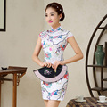 Summer Short Cotton Chinese Traditional Dress Sleeveless Cheongsam Female Flower Qipao Mini Party Dress Vestidos Clothes  18