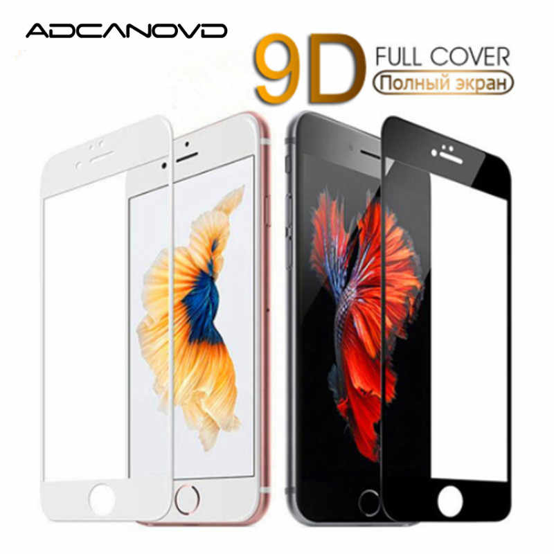 9D منحني حافة زجاج مقسى على ل iPhone 7 8 Plus X XS غطاء كامل شاشة زجاج واقي ل iPhone 7 8 6 6S Plus فيلم