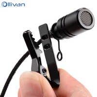 Ollivan 2.5m Omnidirectional Metal Microphone 3.5mm Jack Lavalier Tie Clip Microphone Mini Audio Mic for Computer Laptop Phone