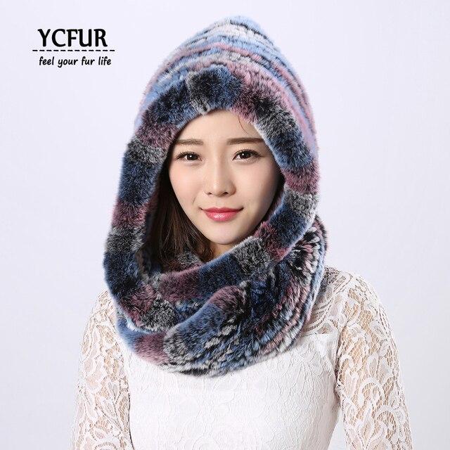 colores y llamativos más tarde lo último € 32.84 31% de DESCUENTO [YCFUR las mujeres sombreros, bufandas de invierno  de piel de conejo Rex sombrero de mujer de piel cuello bufandas cálidas ...