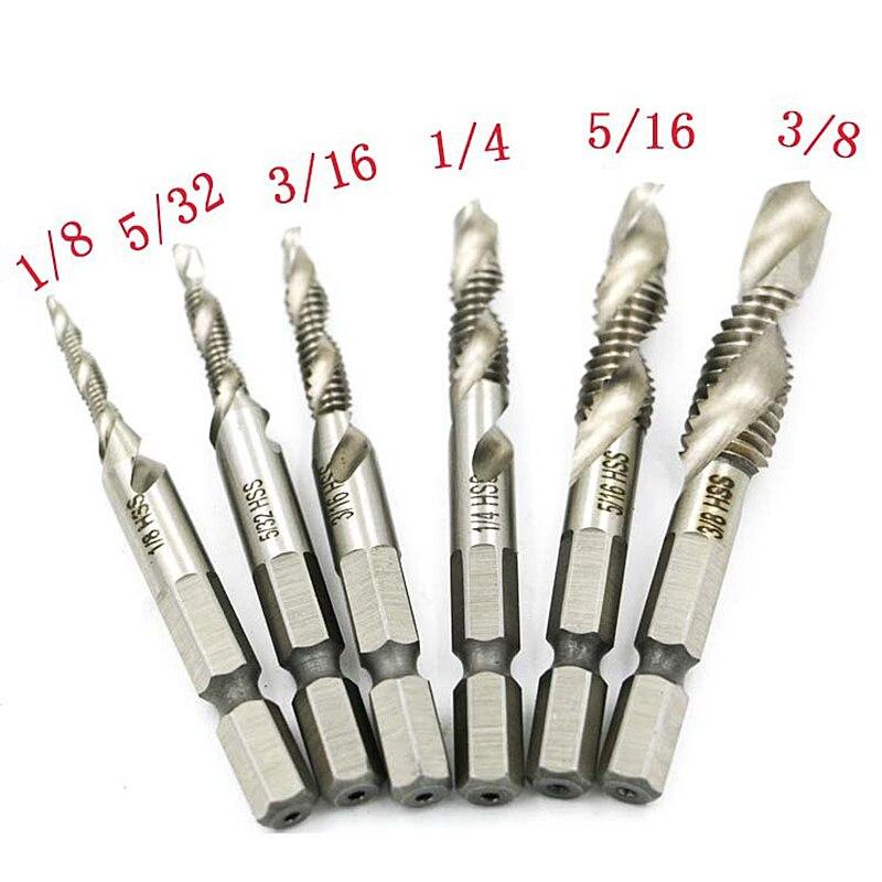 6pcs/set 1/4'' Hex HSS High Speed Steel Thread Spiral Screw 1/8 3/8 5/16 3/16 5/32 Metric Composite Tap Drill Bit Tap Hand Tools