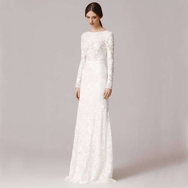 Aliexpresscom buy fw1252 vintage lace long sleeves for Scoop neck sheath wedding dress