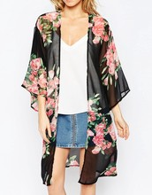 Casual Vintage Kimono Cardigan Floral Print Chiffon Loose