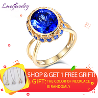 LOVERJEWELRY Newest Solid 18Kt Yellow Gold Natural Tanzanite GEM Wedding Rings Oval Shape Gemstone For Women Anniversary Wedding