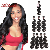 ALI ANNABELLE HAIR Peruvian Body Wave Human Hair Bundles 1/3/4 PCS Natural Color 10 to 28 inch 100% Remy Hair Extensions