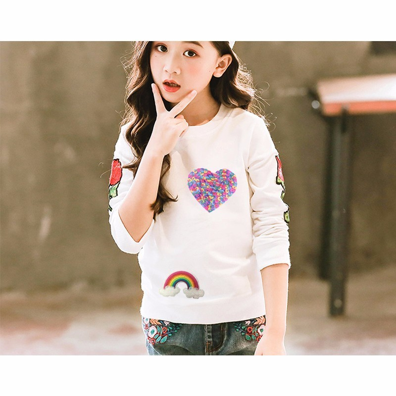 Prajna LOVE Heart Sewing On Reversible Patches For Clothes Cartoon Sequin Transfers Patch Accessory For Kids Clothing Decor E in Patches from Home Garden