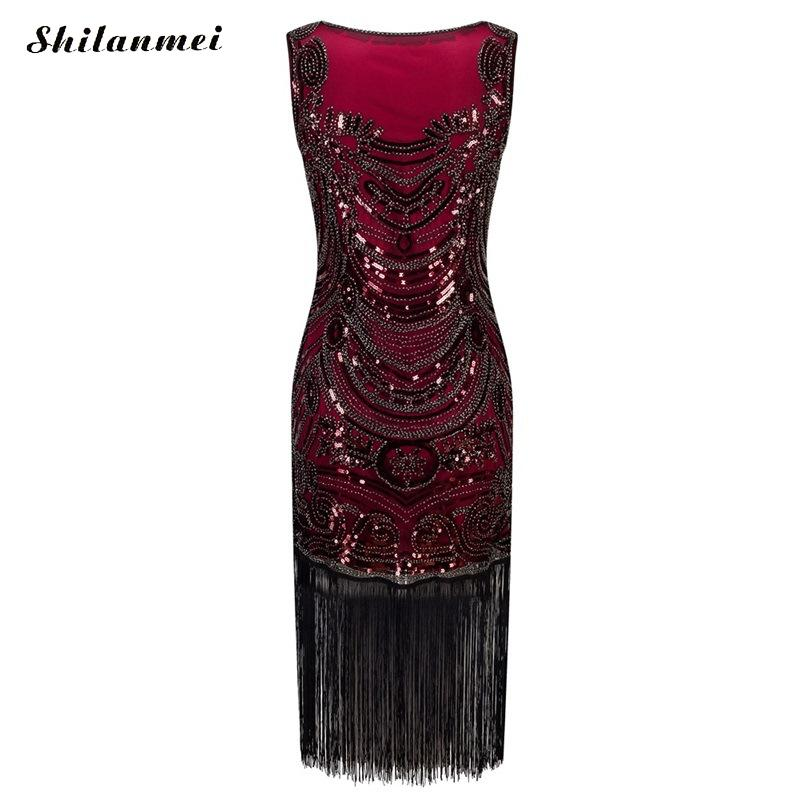 Grande Paillettes La Franges De Événements 20 S Aileron Robe Bal À Costume Rouge Partie Gatsby Pour 1920 Vintage Robes Femmes Taille uPikZX