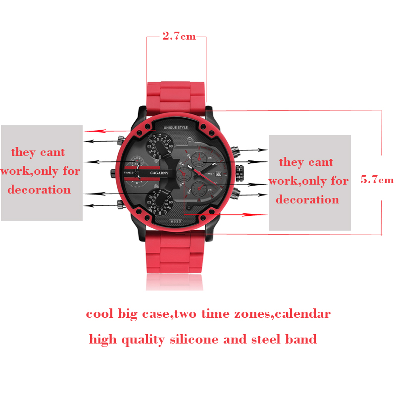 top luxury brand cagarny analog quartz watch for men two time zones auto date cool big case military watches red silicone band sports men's wristwatches dz dz7370 (1)