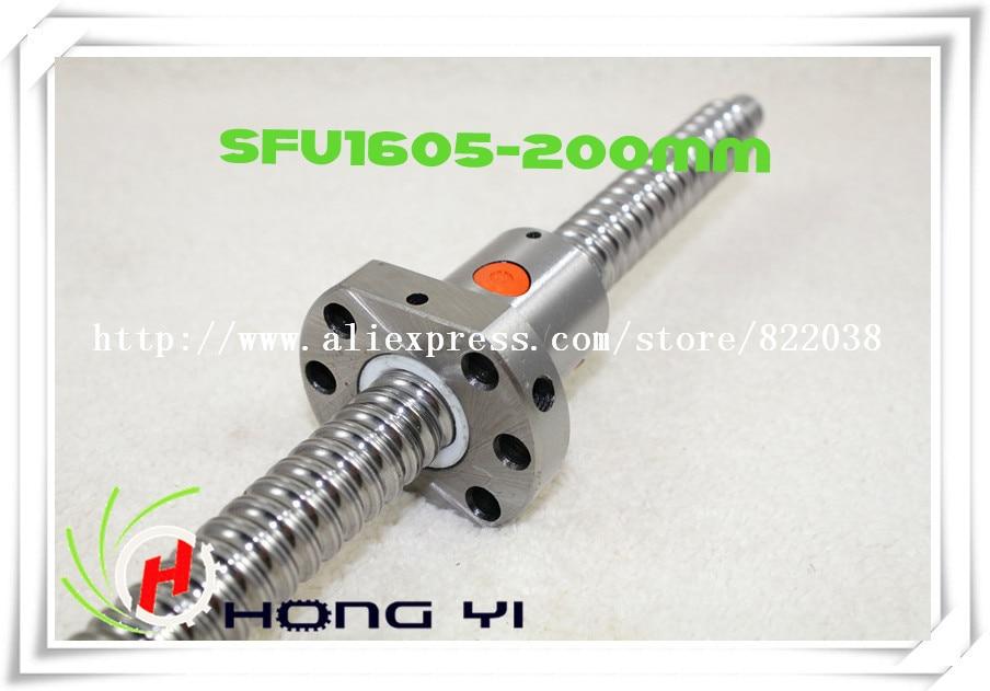 16mm 1605 Ball Screw Rolled ballscrew 1pc SFU1605 L 200mm with 1pc 1605 Flange single ballnut for CNC parts  sfu1605 ball screw l650mm ballscrew with sfu1605 single ballnut for cnc