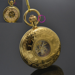 Man Mechanical Pocket Watch Roman Classic Fob Watches Shield Retro Vintage Gold Ipg Plating Copper Brass Case Good Quality Hour