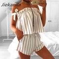 Jiekanila Dark red stripe branco Sling jumpsuit playsuit romper Fora do ombro duas peças Set Sexy da praia do verão 2017 roupa das mulheres