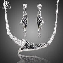 AZORA Stellux Cristal Austriaco Diseño Único de La Manera Venas Cebra Gota Pendientes y Collar Colgante de Joyería TG0179