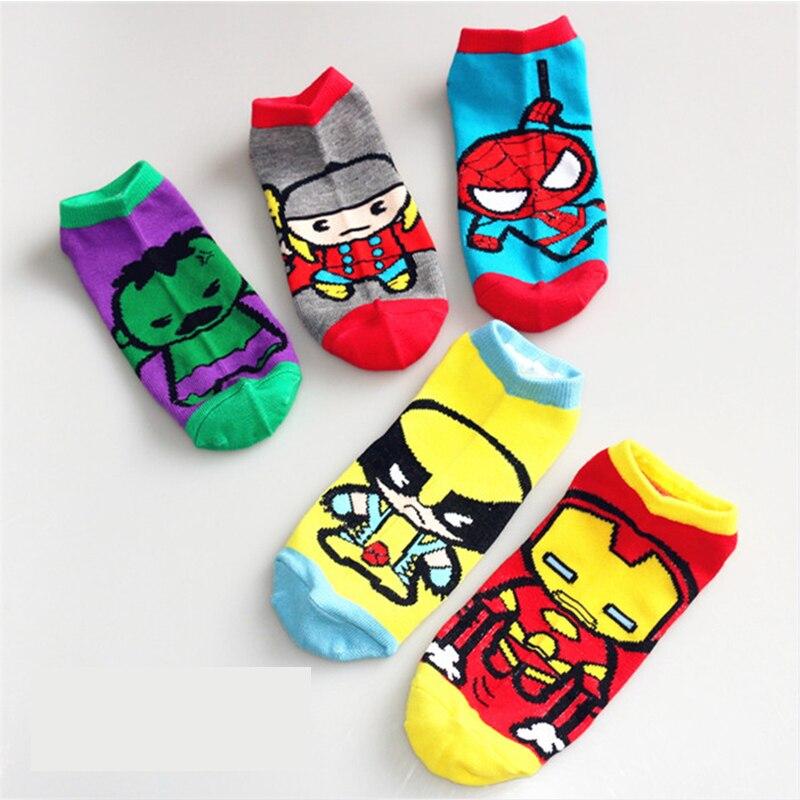 12 Pairs Women and Men Socks Wonder Cartoon Socks Fashion Anime Sock Lady Cute Superman Cotton Short Socks