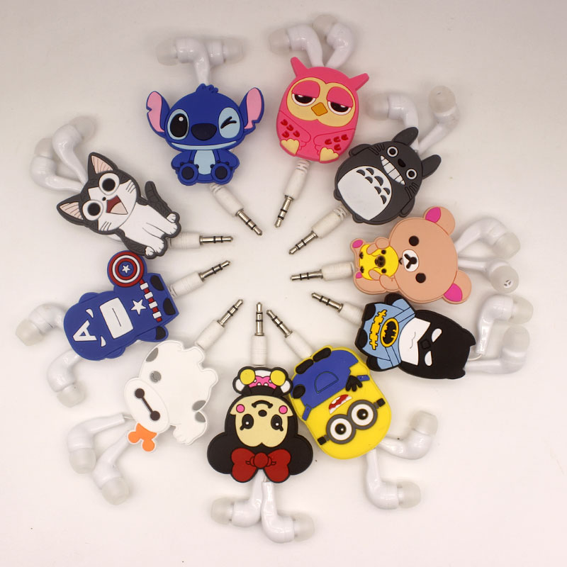 2017 New Cartoon 3.5mm In-Ear Earphone Headset Wired Avenger Batman Superman  Stitch Cheese cat for mp3 mp4 new 3 5mm in ear wired earphone